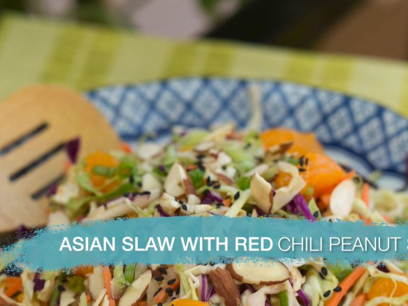 A plate with an asian salad that is extremely tasty and spices your faith