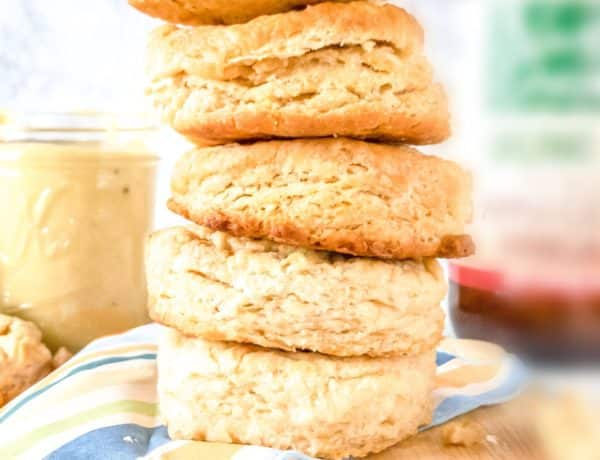 Vegan Biscuits stacked on a plate